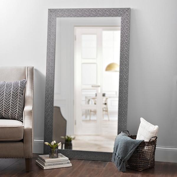 Metallic Silver Blocks Framed Mirror