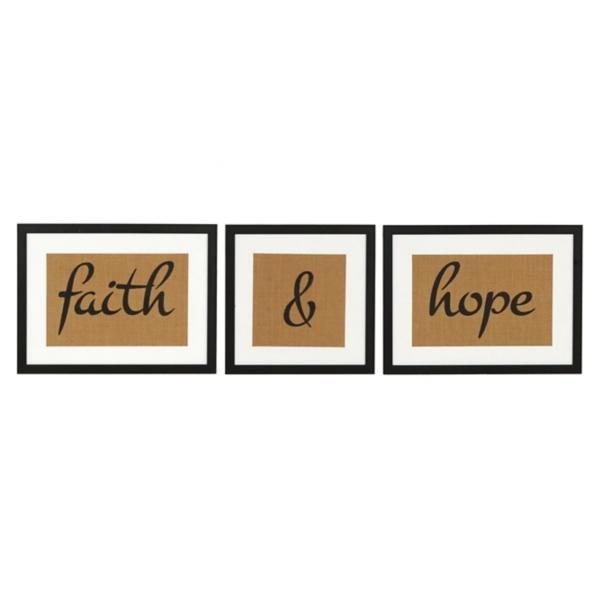Faith And Hope Framed Art Prints, Set Of 3   Kirklands