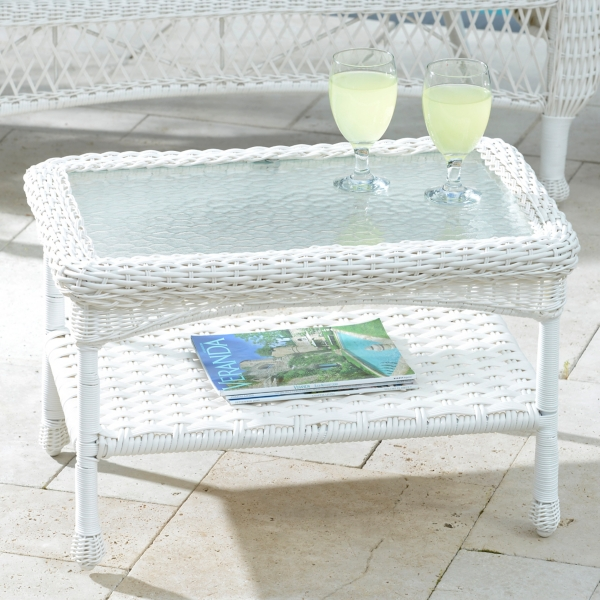 savannah white wicker coffee table | kirklands