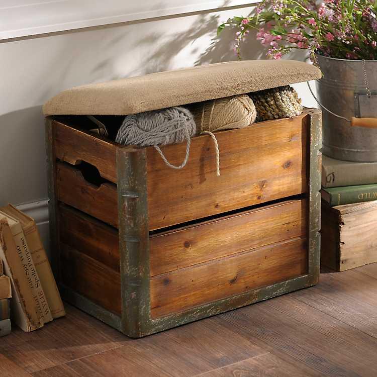 Outstanding Wooden Crate Storage Ottoman Machost Co Dining Chair Design Ideas Machostcouk
