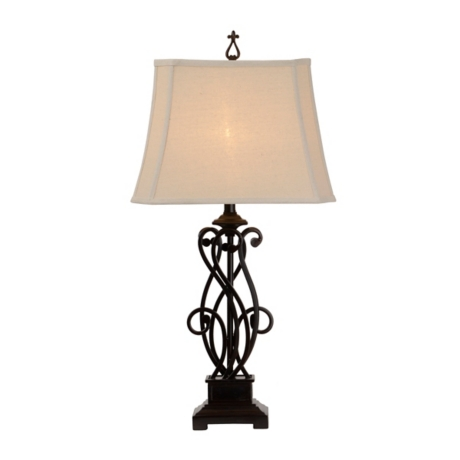 Bronze iron scroll table lamp kirklands aloadofball Images