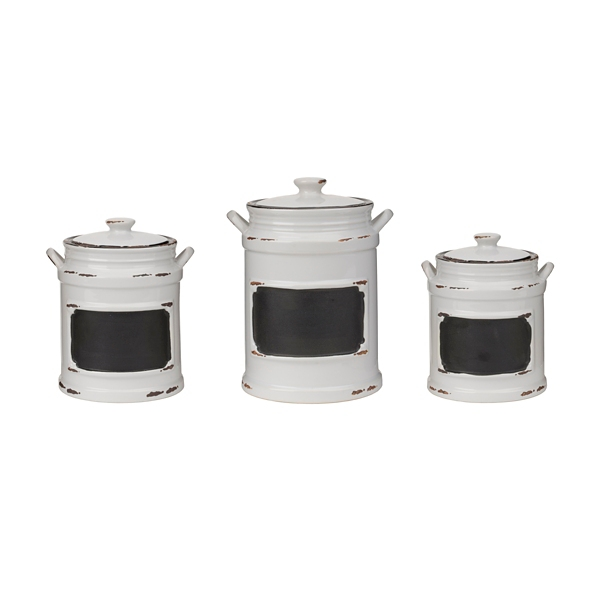 Vintage White Chalkboard Canisters Set Of 3