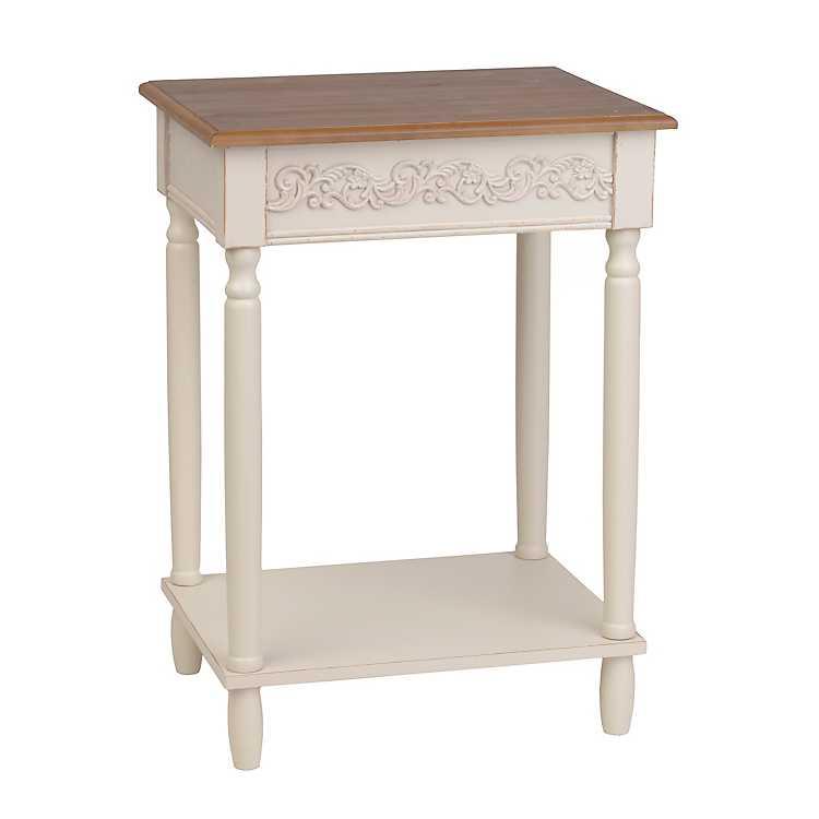 shabby chic easter decor on sale.htm cream wooden accent table kirklands  cream wooden accent table kirklands