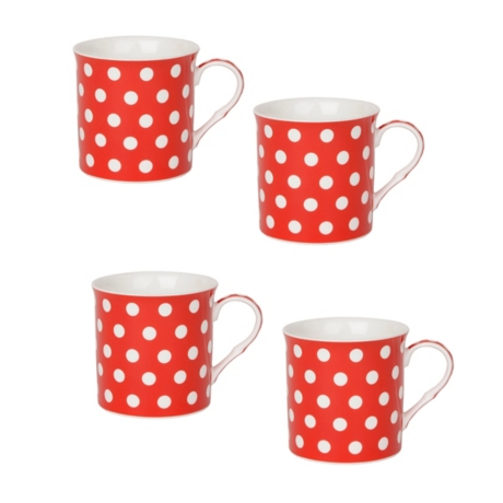 White and Red Polka Dot Mugs, Set of 4 | Kirklands