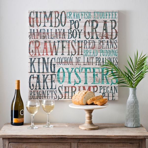 Creole Food Typography Canvas Art Print