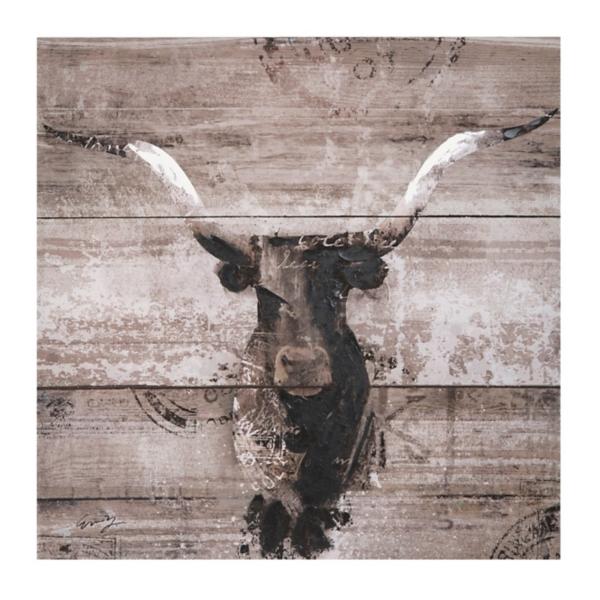 Black and white bull canvas art print