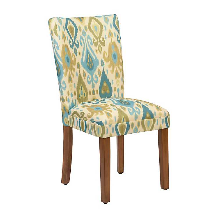 Super Blue And Green Ikat Parsons Chair Lamtechconsult Wood Chair Design Ideas Lamtechconsultcom