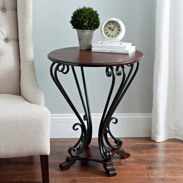 Dark Brown Scrolled Side Table