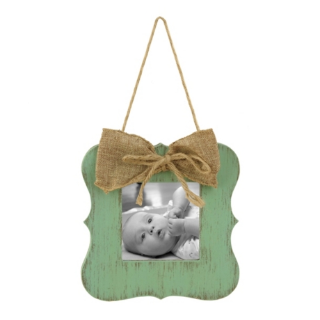 Turquoise Burlap Bow Hanging Picture Frame, 4x4 | Kirklands