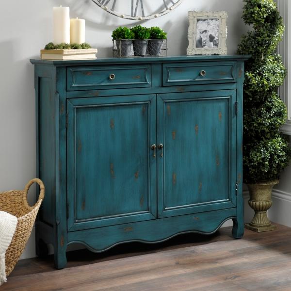 Vintage Turquoise 2 Door Cabinet