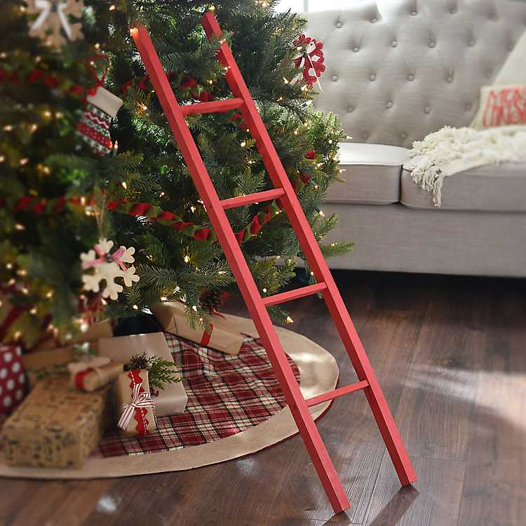 Product Details Red Wooden Ladder