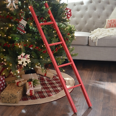 red wooden ladder kirklands - Christmas Tree Ladder Decoration