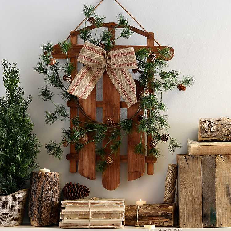 Product Details. Sled and Pine Wall Decoration