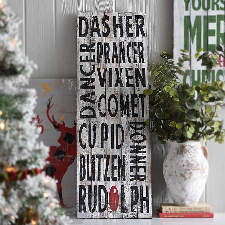 Rustic Reindeer Names Wooden Sign | Kirklands