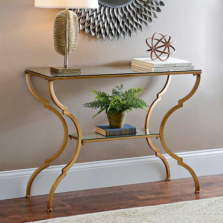 Geometric Gold Gl Console Table