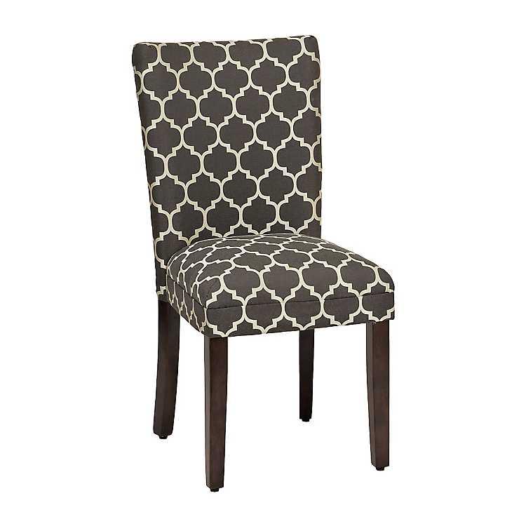 Product Details. Charcoal Quatrefoil Parsons Chair