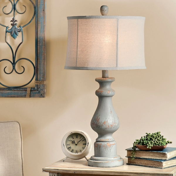 Distressed soft blue table lamp kirklands aloadofball Image collections