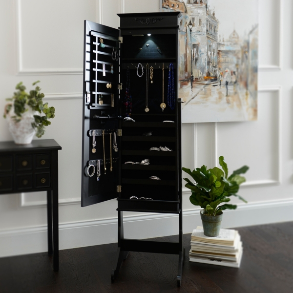 Black Cheval LED Jewelry Armoire Mirror Kirklands