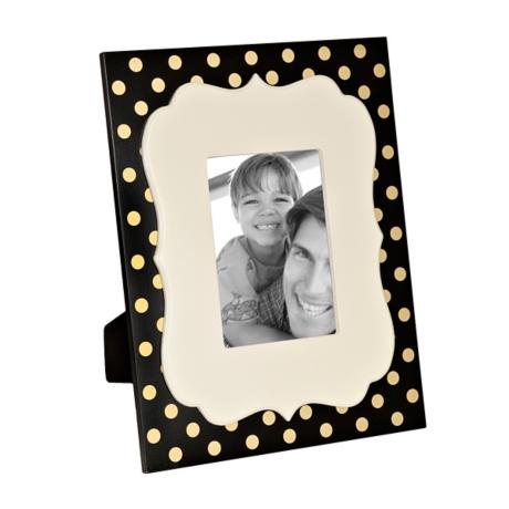Black and Metallic Gold Dot Picture Frame, 5x7 | Kirklands