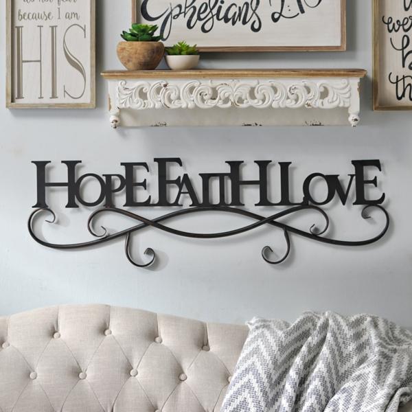 Faith Hope Love Metal Wall Decor Home Decorating Ideas