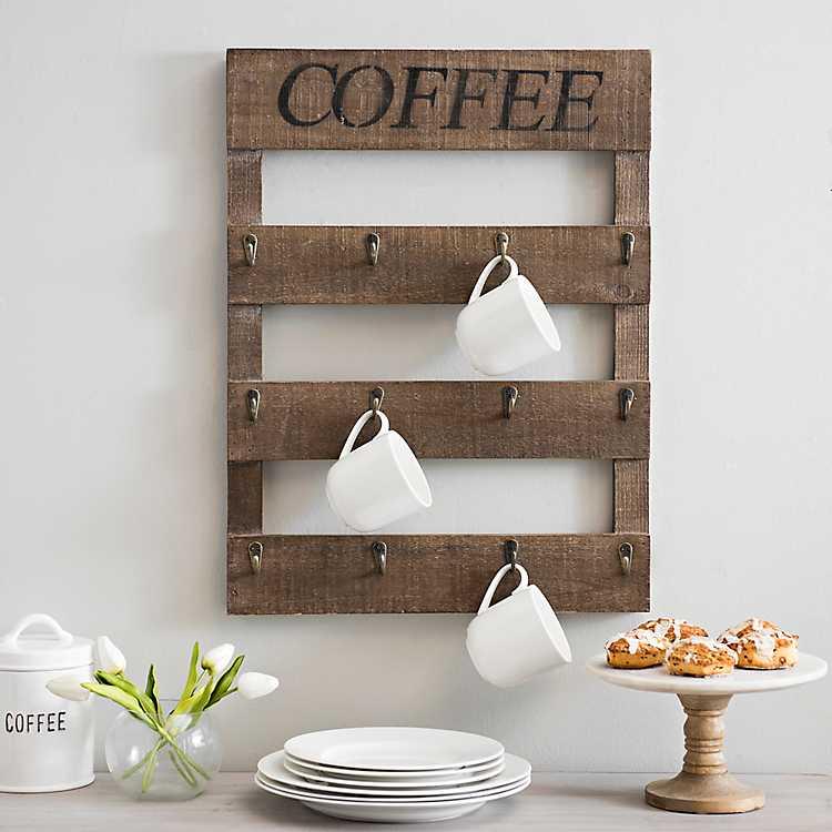 coffee shop kitchen decor.htm coffee mug hanger wood plank plaque kirklands  coffee mug hanger wood plank plaque