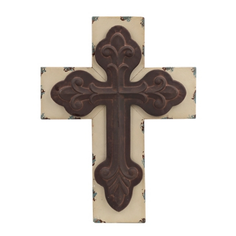 Distressed Cream Rustic Cross