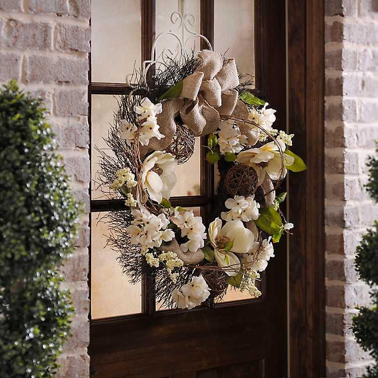Burlap Magnolia Wreath   Kirklands