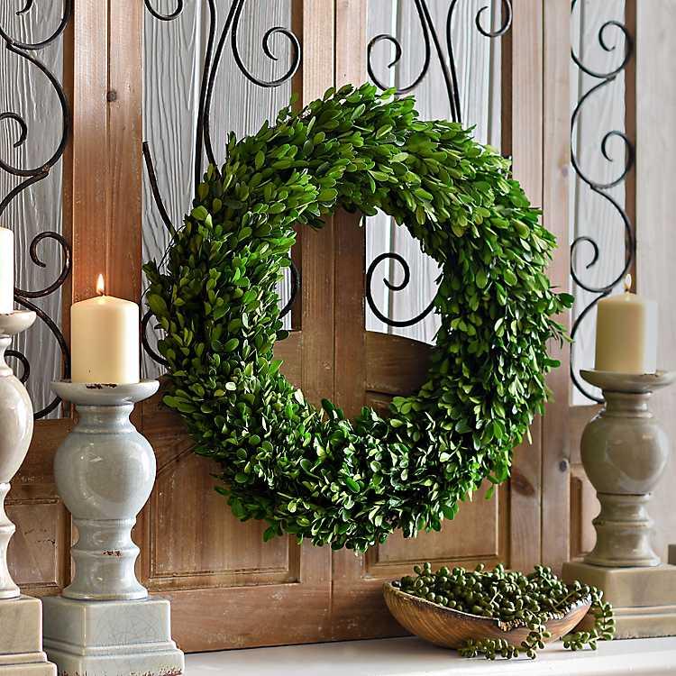 Preserved Round Boxwood Wreath   Kirklands
