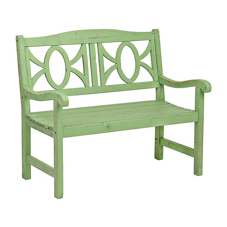Pleasing Distressed Green Wooden Outdoor Bench Ncnpc Chair Design For Home Ncnpcorg