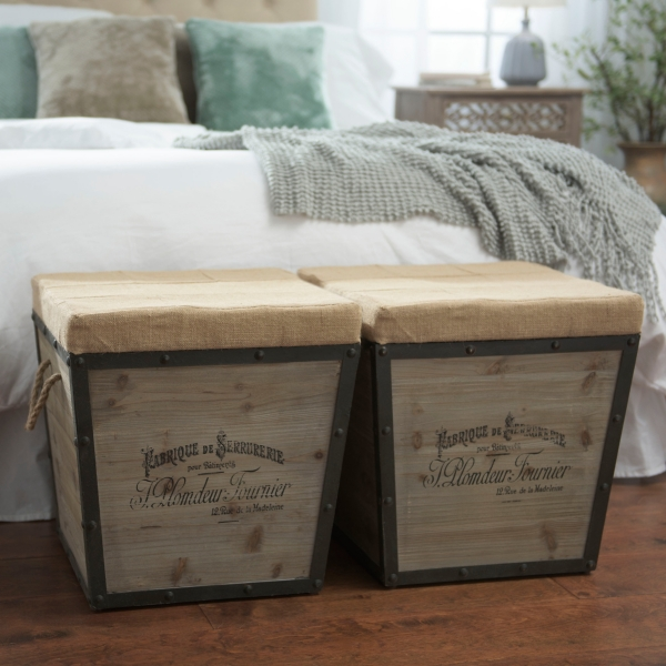 Very Distressed Wood and Burlap Tapered Ottoman   Kirklands GE08