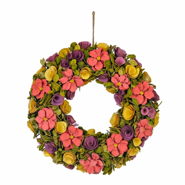 Wood Curl Flower Wreath Kirklands