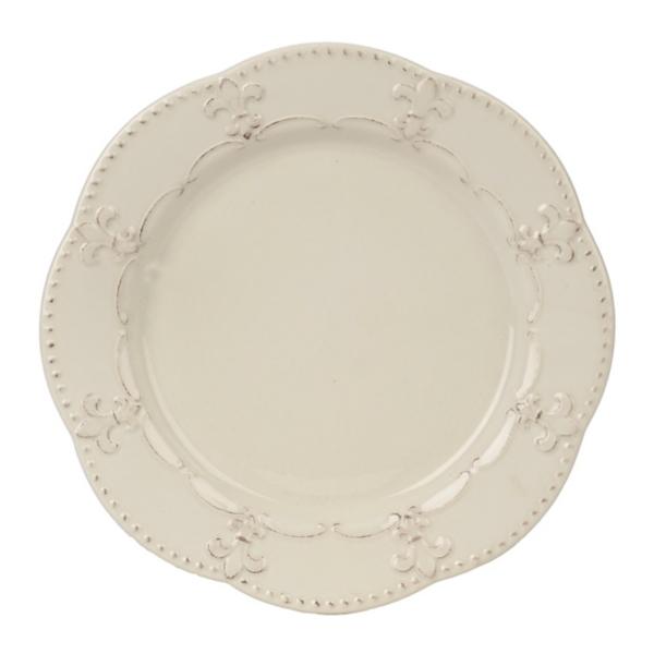sc 1 st  Kirklands & Distressed White Fleur-de-lis Plate | Kirklands