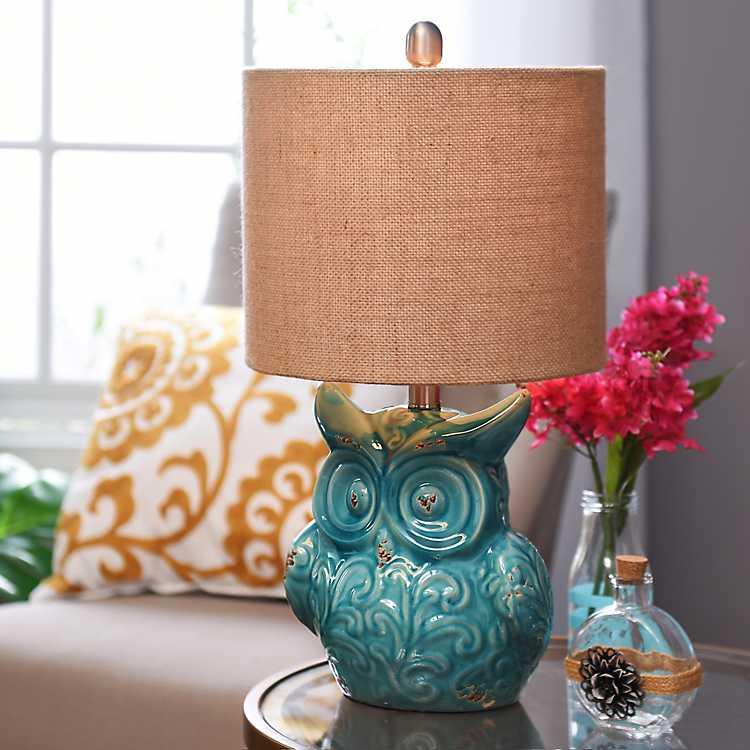 Turquoise Owl Ceramic Table Lamp