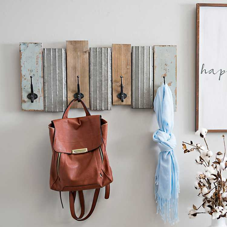 hooks for purses on wall.htm shabby chic wood and galvanized metal wall hook kirklands  wood and galvanized metal wall hook