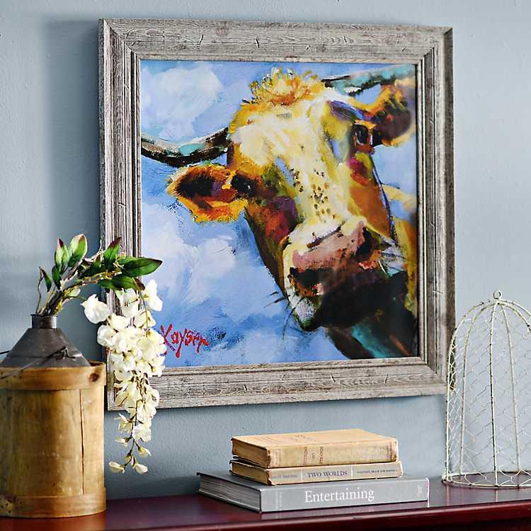 Colorful Cow Framed Art Print | Kirklands