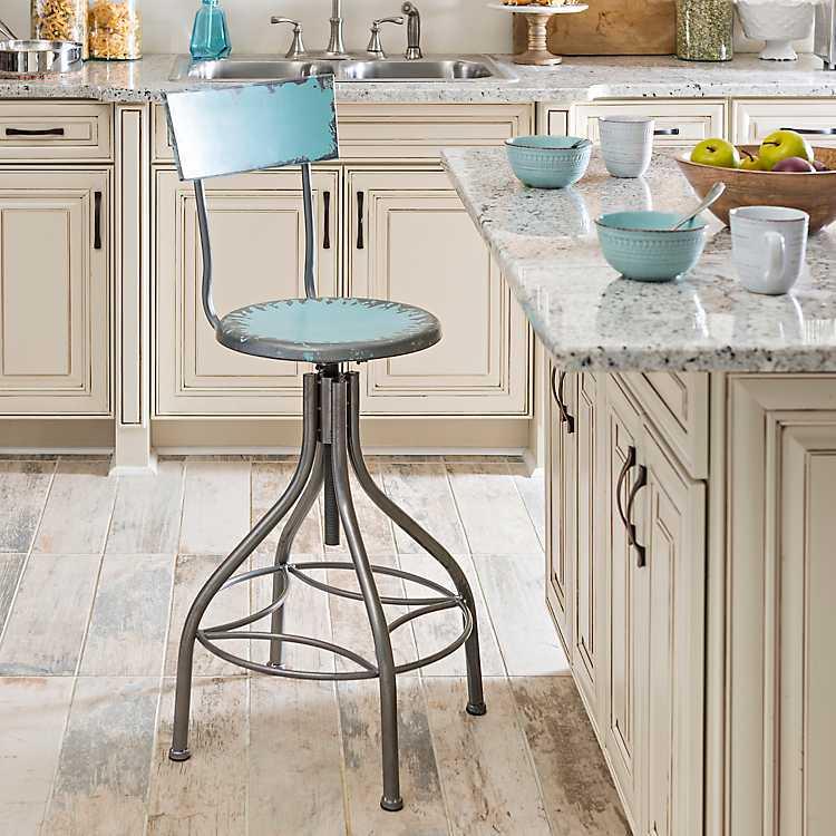 Cool Distressed Blue Metal Bar Stool Inzonedesignstudio Interior Chair Design Inzonedesignstudiocom