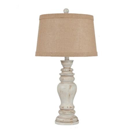 Rustic distressed cream table lamp kirklands aloadofball Choice Image