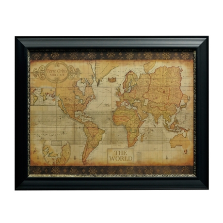 Antique old world map framed art print kirklands gumiabroncs Gallery