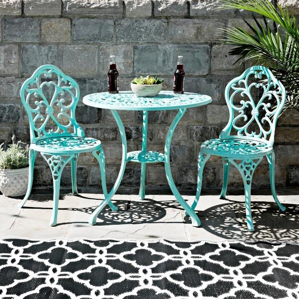 & Turquoise Fleur-de-Lis Cast Iron Bistro Set   Kirklands