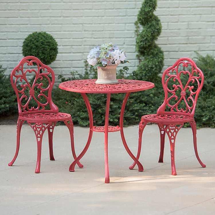 Red Fleur De Lis Cast Iron Bistro Set