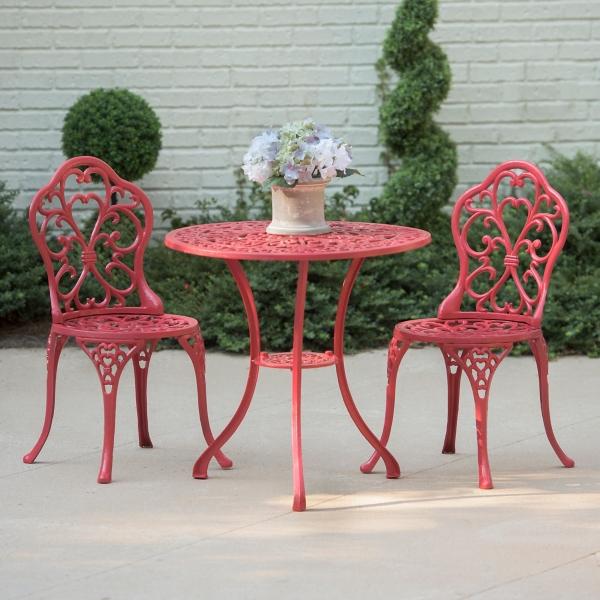 Red Fleur-de-Lis Cast Iron Bistro Set & Outdoor Sets   Patio Sets   Kirklands