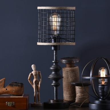 Metal and burlap edison lamp