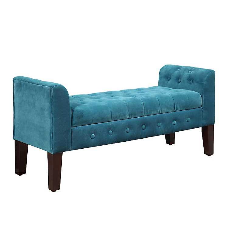 Sensational Turquoise Velvet Tufted Storage Bench Bralicious Painted Fabric Chair Ideas Braliciousco