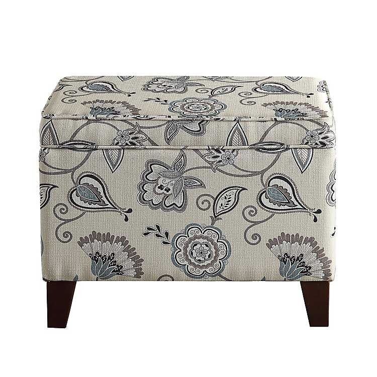 Brilliant Sky Blue Floral Storage Ottoman Gmtry Best Dining Table And Chair Ideas Images Gmtryco