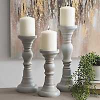 Set of 3 Simple Distressed Gray Candlesticks