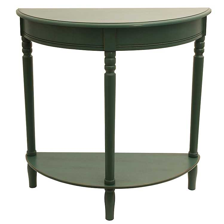 Antique Teal Half Moon Console Table ...