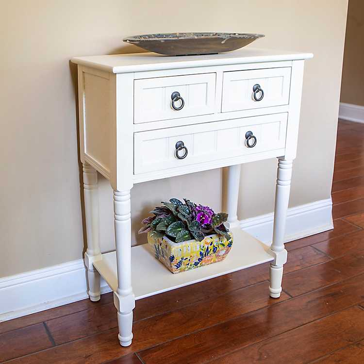 Superb Antique White Beadboard 3 Drawer Console Table Pdpeps Interior Chair Design Pdpepsorg