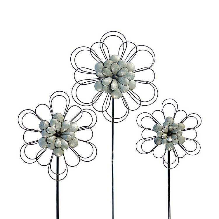 Product Details. Silver Metal Flower Stakes ...