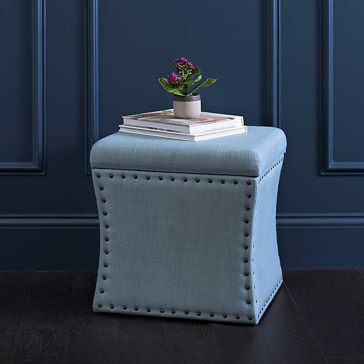 Admirable Blue Herringbone Storage Ottoman Gmtry Best Dining Table And Chair Ideas Images Gmtryco