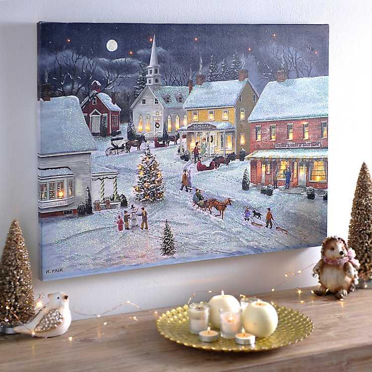 Sleigh Bells Ring LED Canvas Art Print | Kirklands
